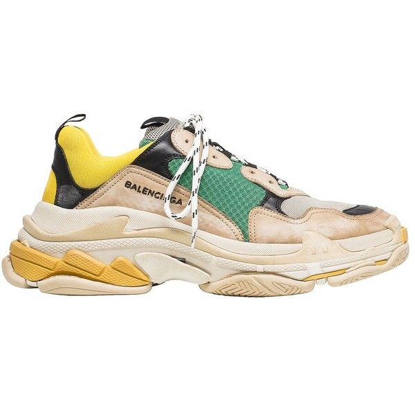 Balenciaga Triple S Sneaker Release Details The Source ❤ liked on Polyvore featuring shoes, sneakers, sports footwear, vintage trainers, balenciaga sneakers, logo shoes and sport shoes