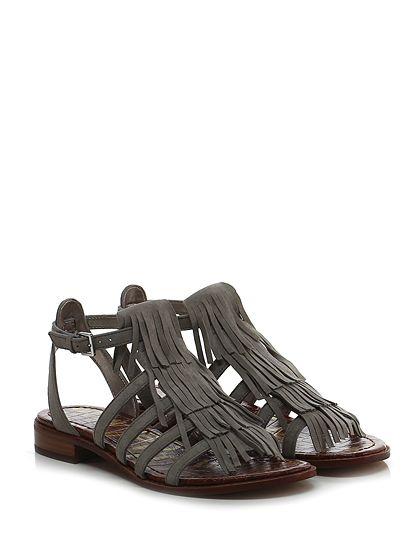Sam Edelman - Sandalo basso - Donna - Sandalo basso in camoscio con cinturino alla caviglia e frange frontali. Suola in gomma, tacco 25. - GREY - € 160.00