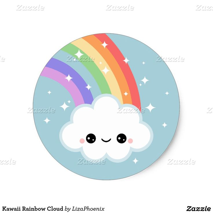 Kawaii Rainbow Cloud Classic Round Sticker