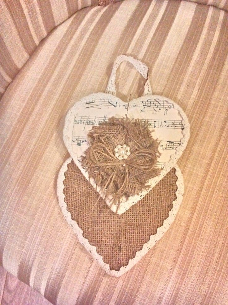 A bespoke double heart wallhanging. via shabby on the cheap. Click on the image to see more!