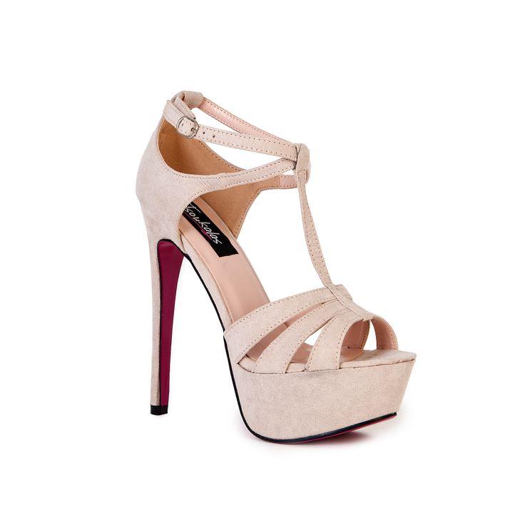 Πέδιλα μπεζ σουέτ με λουριά 312107be Γυναικεία Παπούτσια Tsoukalas Shoes (1)