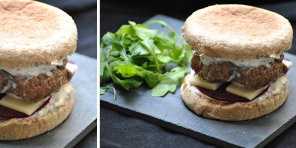 Burger d'agneau, crème fouettée à la menthe et betterave