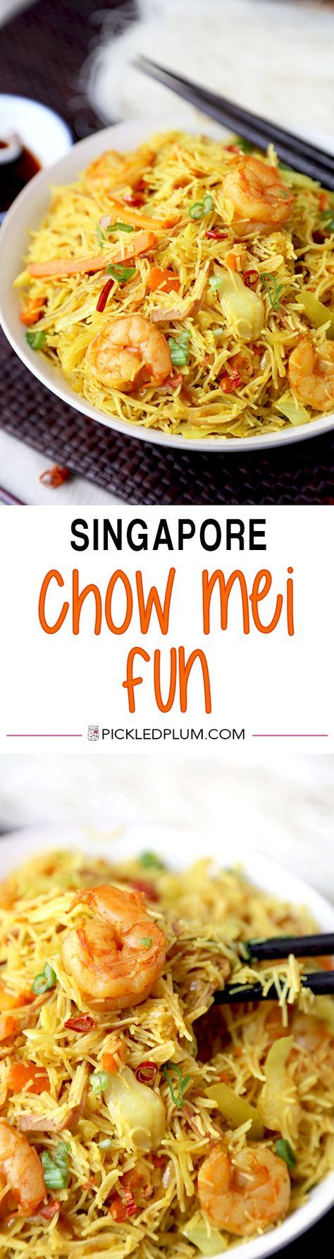 Singapore Chow Mei Fun - This is a simplified and better than takeout Singapore chow mei fun recipe your whole family will love. Ready in 20 minutes from start to finish! Easy, Noodles, Chinese Food | pickledplum.com