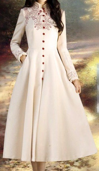 Retro Style Women's Stand Collar Embroidered Long Sleeve Coat