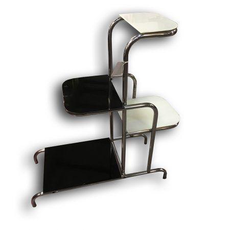Chromový květinový stolek - Funkcionalismus / Bauhaus   www.aantik.cz