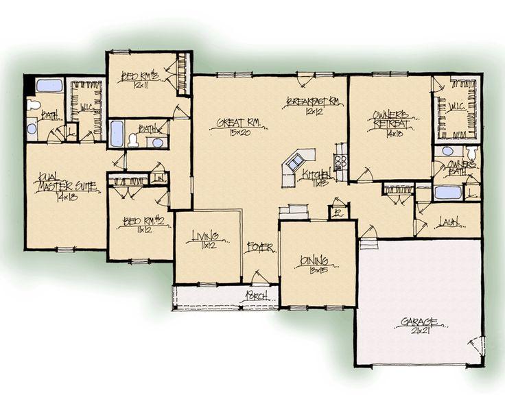 32 best images about home plans on pinterest for Custom dream house floor plans