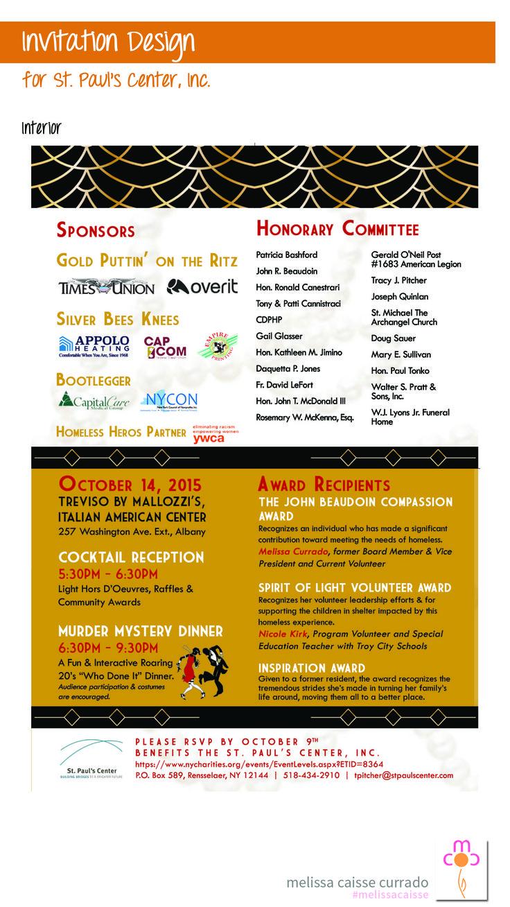 Murder Mystery Fundraiser For St Pauls Center Invitation Design