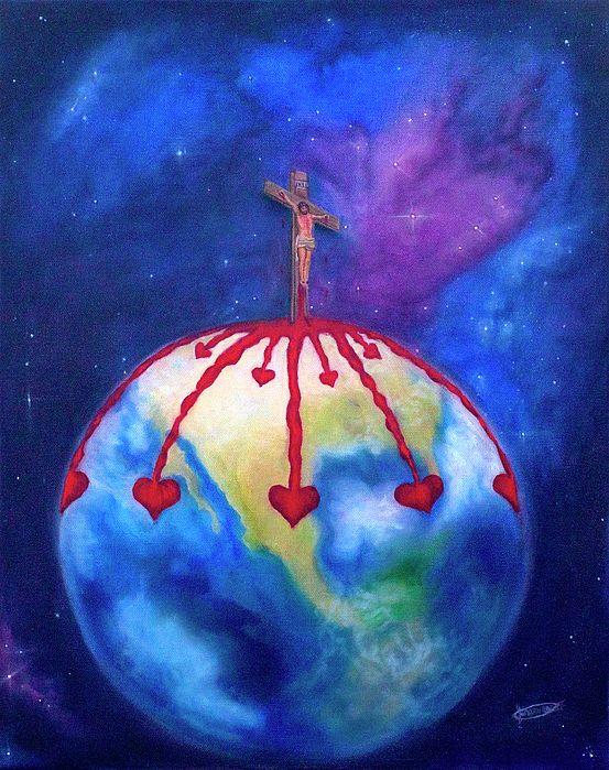 """""""God so Loved The World"""" Fine art print. Prophetic art painting."""