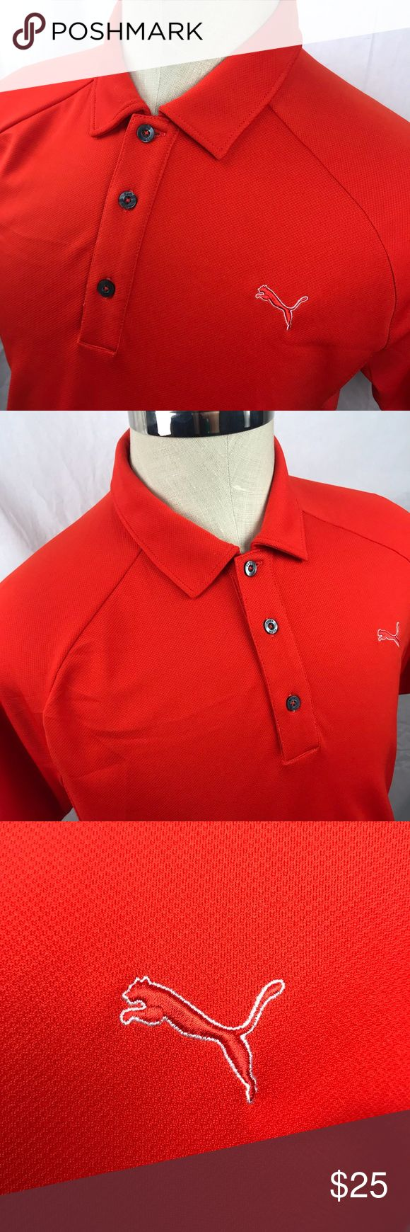"Men's medium dark orange Puma polo shirt Great condition!   Chest: 21"" Length: 29""  Thanks for looking and please feel free to shoot me a message if you have any questions. Thanks! Puma Shirts Polos"