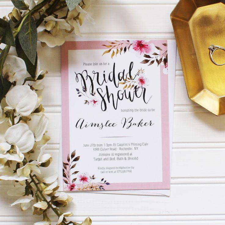 Pink floral wedding bridal shower invitation design