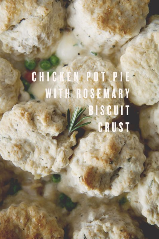 Rosemary Chicken Pot Pie. WAS SOOOO GOOD! Next time add more veggies and chicken and another potato (2 total). The veggies maintained the perfect amount of tenderness. Next time add corn? Also, no need to make biscuit shapes. Just mix it all up and spread it over.  took about 1.5 hours from start to finish