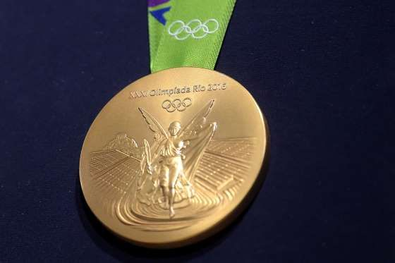 he last time the gold medal is made of pure gold at the Olympics in 1912 in Stockholm, Sweden. After that, the gold medal was made with a mixture of silver.