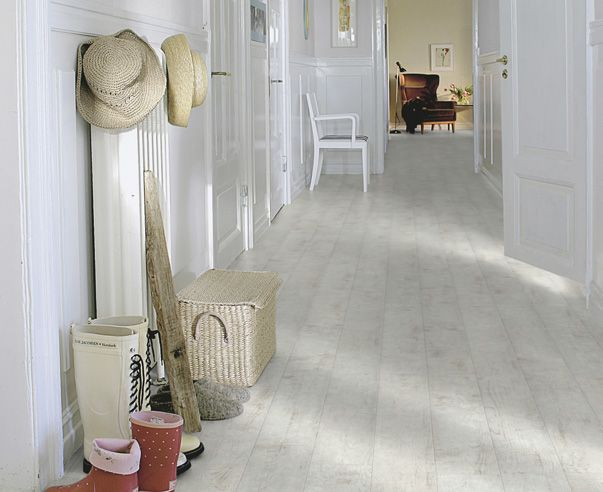 distressed white washed oak... a complete 180 from our ebony floors but I love this!!