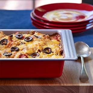 """Lightened Up King Ranch Casserole, no """"cream of"""" soups -- make a couple and freeze one! via Eating Well #casserole #freezerfriendly #comfort"""