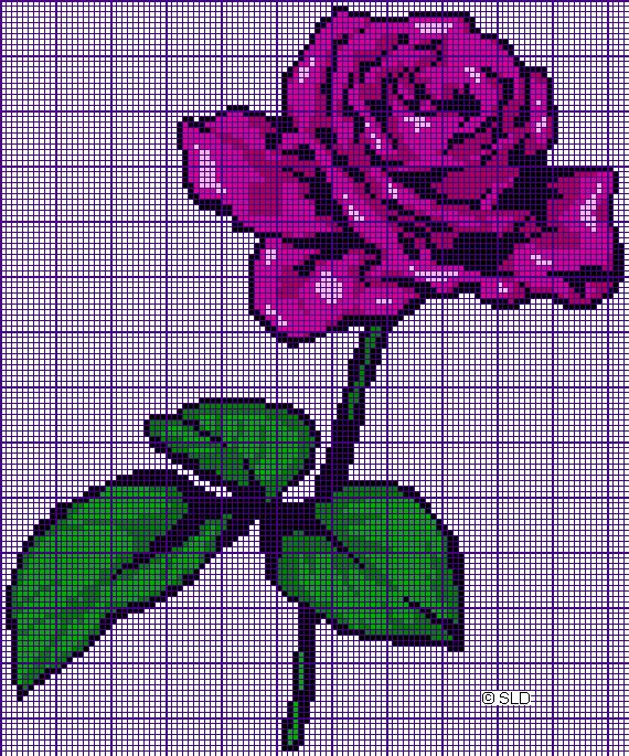 A rose crochet pattern  tapestry crochet  free graph charts - lots of them!