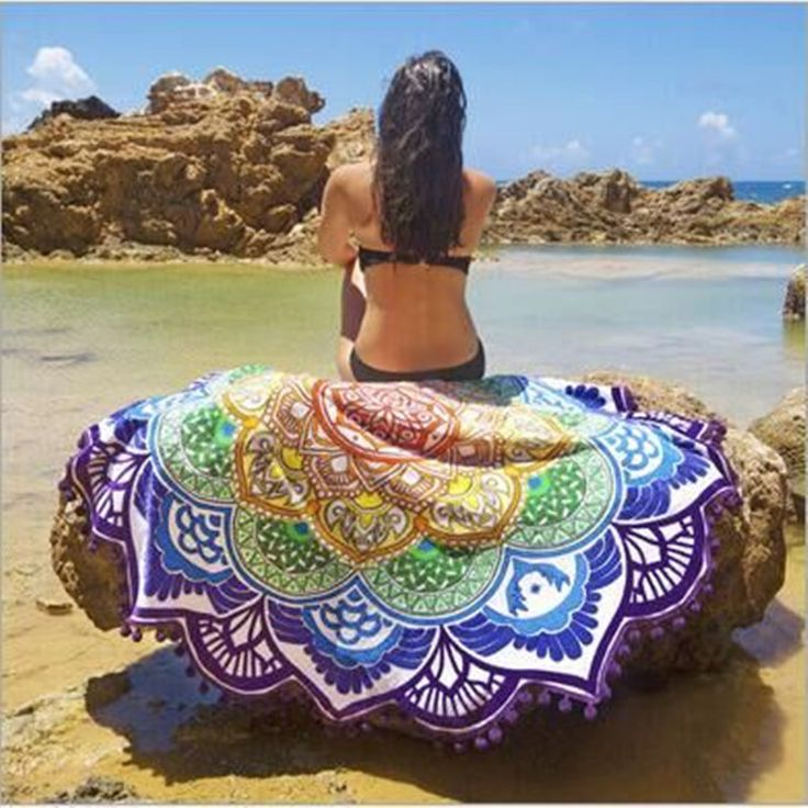 Thin Section  Round Beach Towel Yoga Mandala Blanket Yoga cover up Light Mat Flower Printed Round Fitness Women