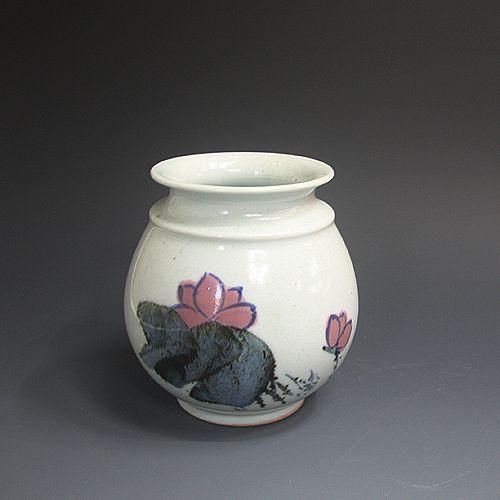 백자황금진사 연화문호 白磁黃金辰砂 蓮花紋壺 (white  Gold Jinsa porcelain  - Lotus Flower)