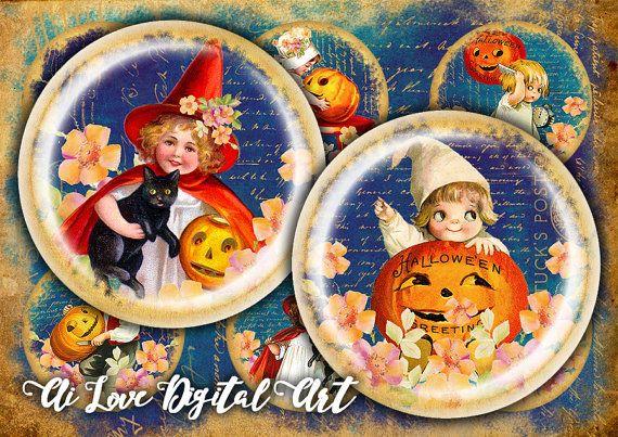 #halloweendigitalcollage #halloweenbottlecaps #etsyfinds