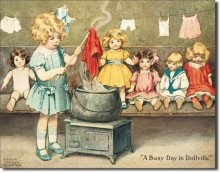 """Gutmann """"Busy Day in Dollville"""": Tins Signs, Dollvill, Metals Signs, Dolls, Bessie Peas Gutmann, Laundry Rooms, Vintage Metals, Business, Kids Rooms"""