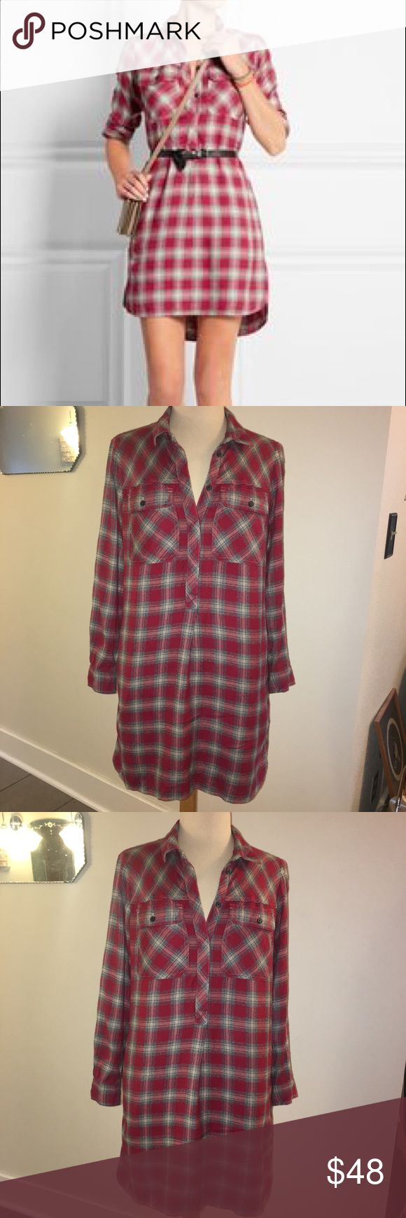 """Madewell Red Flannel Shirt Dress Size XS Madewell red flannel shirt dress in size XS. Super cozy dress features side pockets and is in excellent condition. Can be worn loose for a comfy fit or worn with a belt. L 35"""" Sleeve 23"""" Chest across 18"""" Waist across 20"""" Madewell Dresses"""