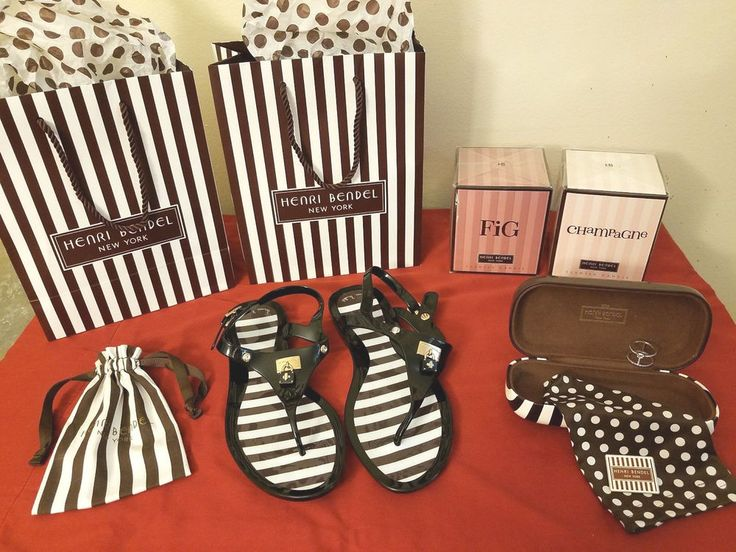 Henri Bendel Striped Tote Bag Luxe Asscher Cut Harness Ring Sandals 8 RARE Lot #HenriBendel #Tote