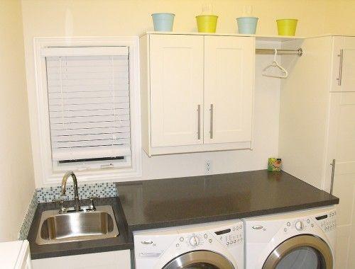 Laundry Room contemporary laundry room: Small Laundry Rooms, Idea, Contemporary Laundry, Decoration, Laundry Room Design, Rooms Design, Small Spaces, White Cabinets, Sweet Life