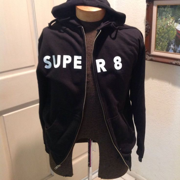 Looking for fans of the Steven Spielberg movie Super 8. This is an official hoodie with a retro vibe. Studio information is printed very lightly under the 8 so it doesn't look like a typical promo jacket. | eBay!