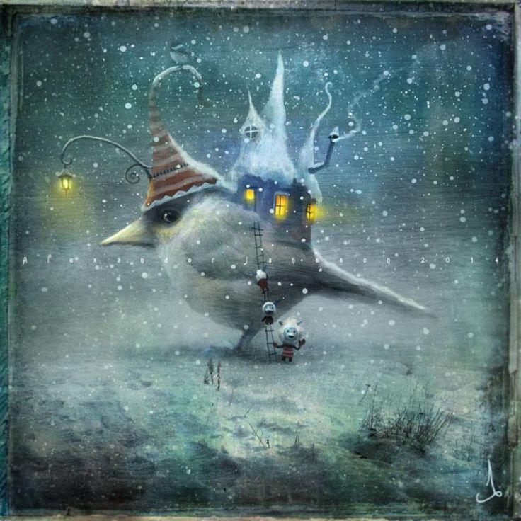 Александр Янссон воплощает в красках мрачный и в то же время волшебный мир, полный загадок и тайн. В нем живет все: трогательные человечки, карусели, передвижные дома, огромные птицы и кролики со своими маленькими наездниками.