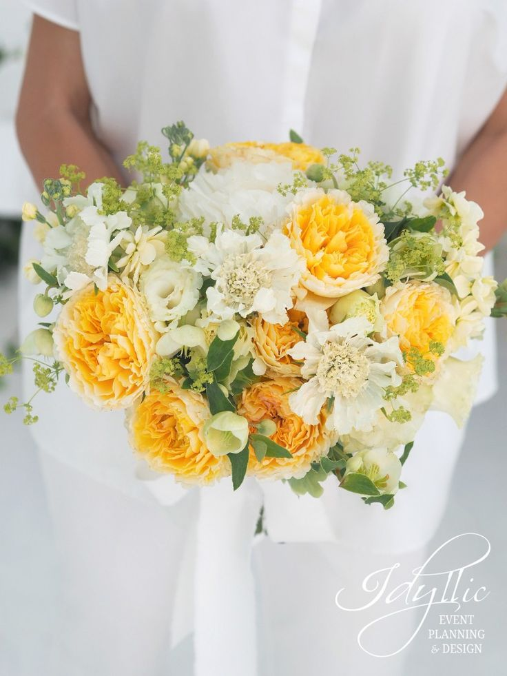 buchet mireasa David Austin by Idyllic Events / amazing David Austin bride bouquet / yellow roses bride bouquet / organizare si design nunta