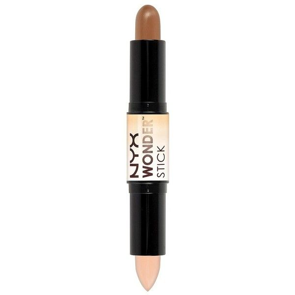 NYX Wonder Stick Concealer - Highlight & Contour - Medium ($12) ❤ liked on Polyvore featuring beauty products, makeup, face makeup, concealer, highlighting concealer, nyx, nyx concealer, creamy concealer and highlight face makeup