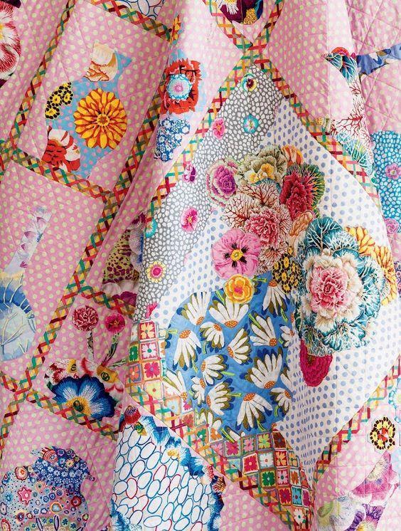 China Shop quilt by Kathy Doughty, Kaffe Fassett fabrics. Homespun Magazine.