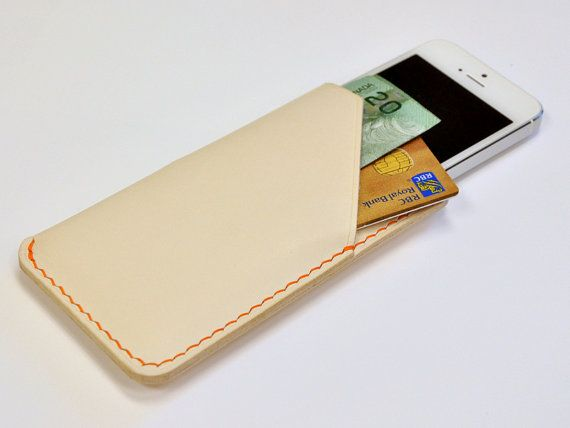 Handmade iPhone 5 Leather Case with Card Holder, iPhone Sleeve with Card Holder, Pearl White with Orange Stitches