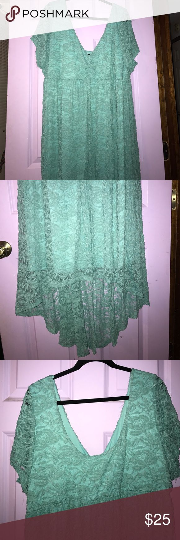 Turquoise lace dress torrid sz 28 Gorgeous dress. High low bottle. Sweetheart neck. Flattering. Worn once. Torrid sz 28 torrid Dresses High Low