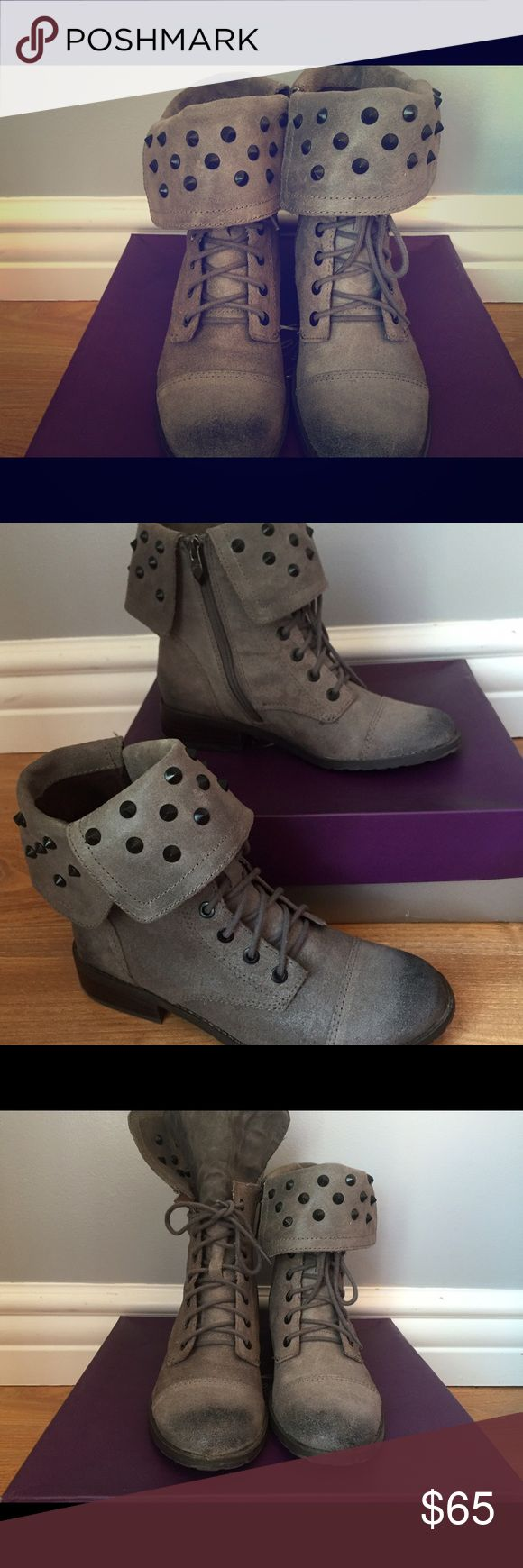 Cute low/high top boots It has rock kind design on it and it is really cute Fergie Shoes Combat & Moto Boots
