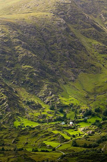 Ireland, Kerry, Summer, Dramatic Afternoon Light Illuminates A Rugged Rural Landscape Near The Healy Pass, Located In The Caha Mountains On ...