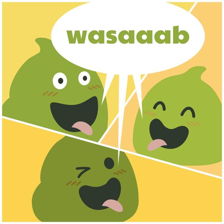 "Sushi Moji's What's Up Wasabi friends ""wasaaab"" sushi puns"