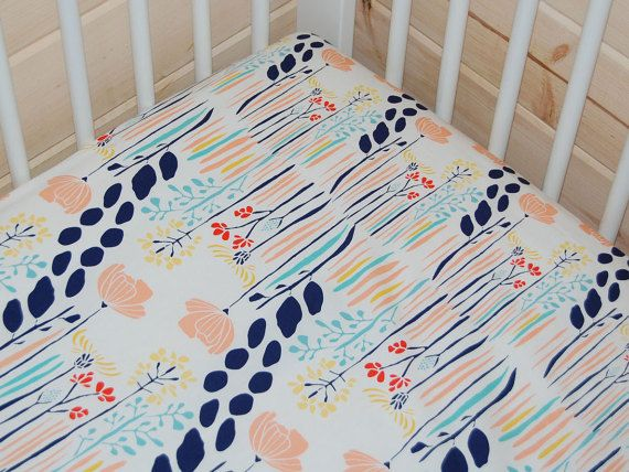 floral fitted crib sheet floral baby bedding meadow crib sheet mini crib sheet