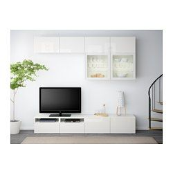 IKEA - BESTÅ, TV storage combination/glass doors, white/Selsviken high-gloss/white clear glass, drawer runner, push-open, , The drawers and doors have integrated push-openers, so you don't need handles or knobs and can open them with just a light push.The space-saving wall cabinets make the most of the wall area above your TV.It's easy to keep the cables from your TV and other devices out of sight but close at hand, as there are several cable outlets at the back of the TV bench.The cable…