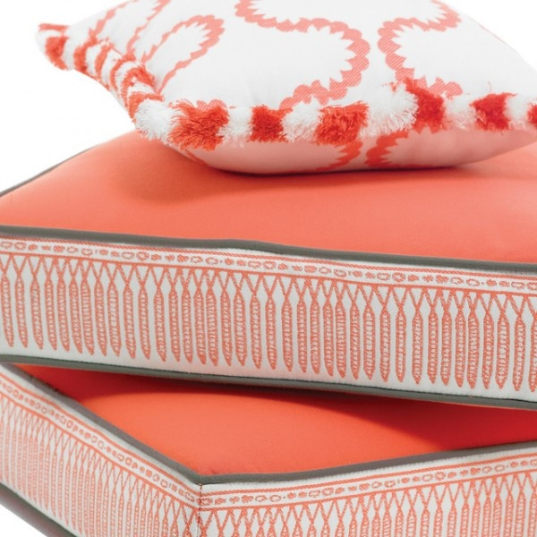 Outdoor Cushions: Coral, Gray, And White Part 92
