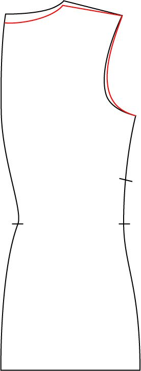 """small """"quick"""" swayback adjustment by pivoting the back neck down, using the shoulder point as the pivot (remembering to re-square the CB neckline to the CB seam)."""