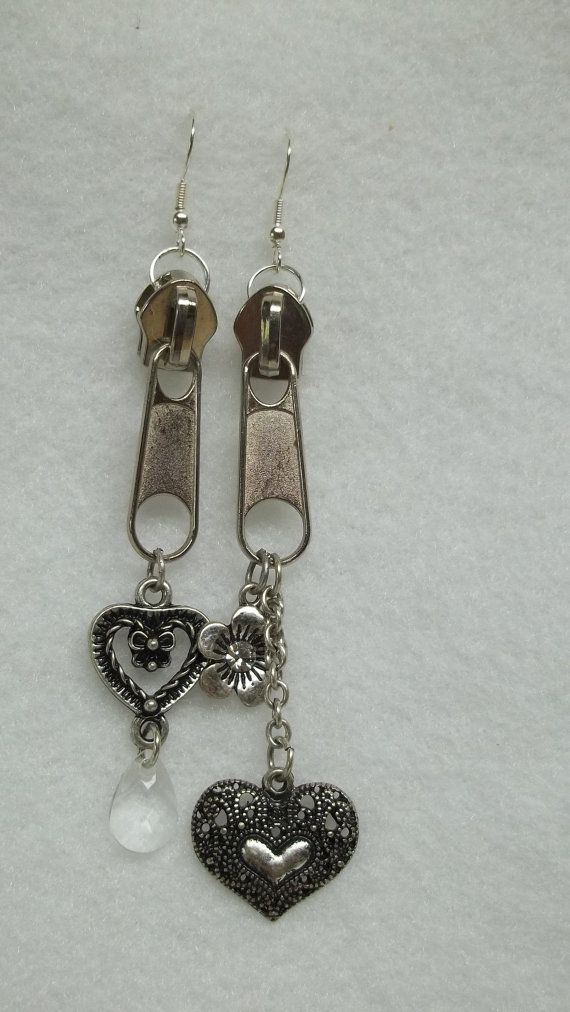 Silver zipper chain earrings flower heart crystal goth ...