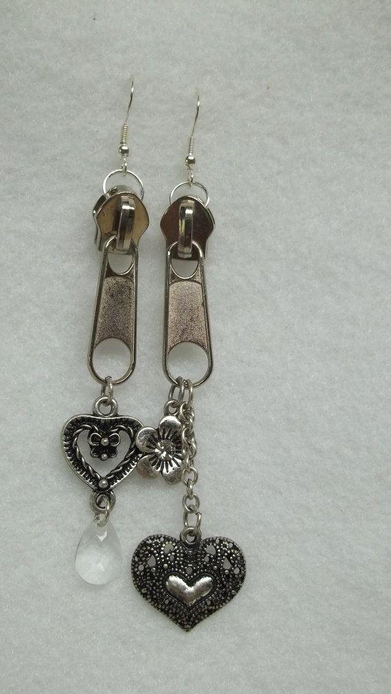 Silver zipper chain earrings flower heart by BeautyRecycled, $12.00