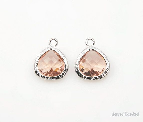 Light Peach Color Glass and Silver Framed Pendant / 10.5mm x 14mm / SLPS040-P  - Polished Rhodium Frame (Tarnish Resistant)  - Light Peach Color Glass - Brass and Glass / 10.5mm x 14mm - 2pcs / 1pack