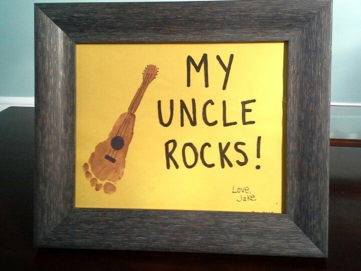 Use your child's foot and non-toxic finger paint to make a guitar picture. Makes a great DIY gift for the rockstar in your life!
