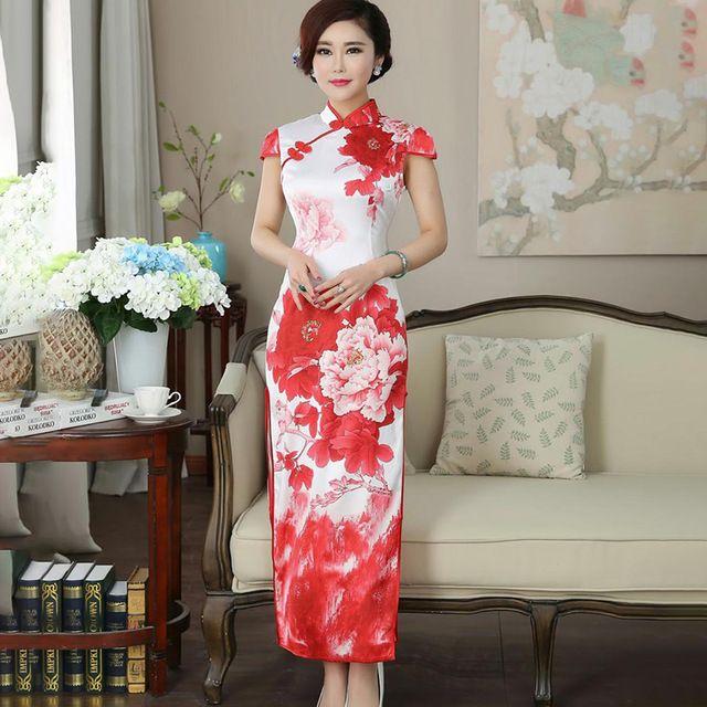 Fasbys Summer Red Flower Pattern Long Cheongsam Dress Formal Chinese Traditional Dresses Modern Qipao Vestido Oriental Wedding