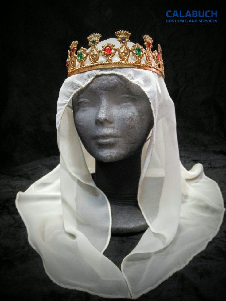Tutoriales Taller Calabuch Costumes: La toca de Isabel la Católica 5 - Añadimos la Corona.... ¡y Toca terminada!