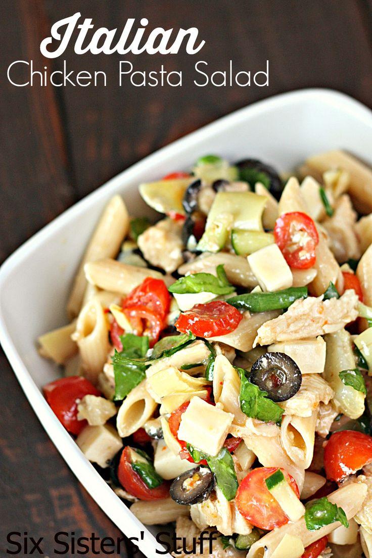 Italian Chicken Pasta Salad Recipe SixSistersStuff