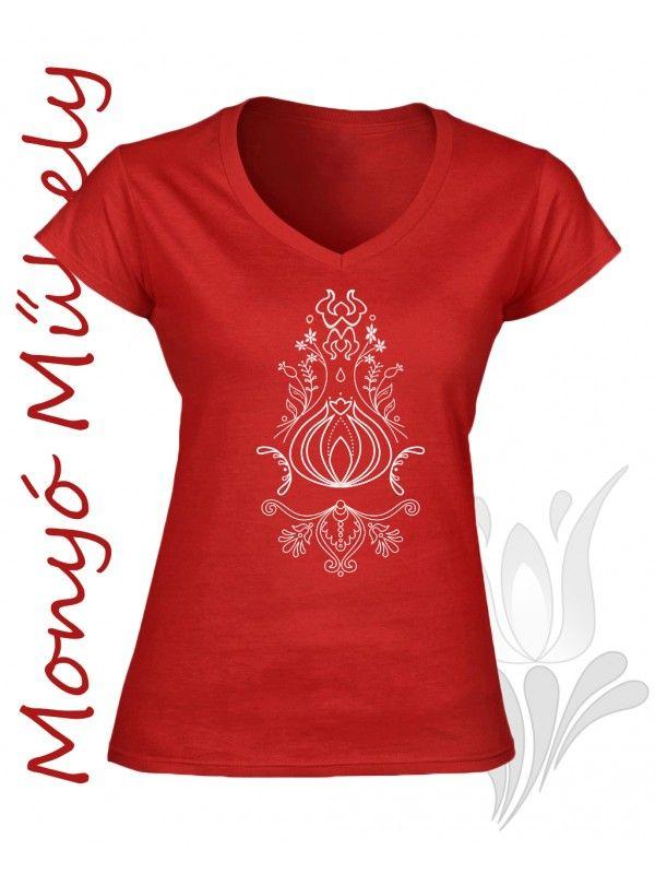 Szűr mintás női póló - piros