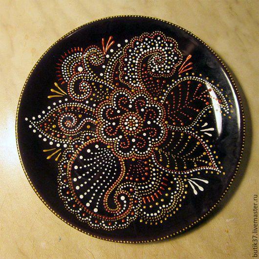 Декоративная посуда ручной работы. Ярмарка Мастеров - ручная работа. Купить Осенние цветы - декоративная тарелка - точечная роспись. Handmade.