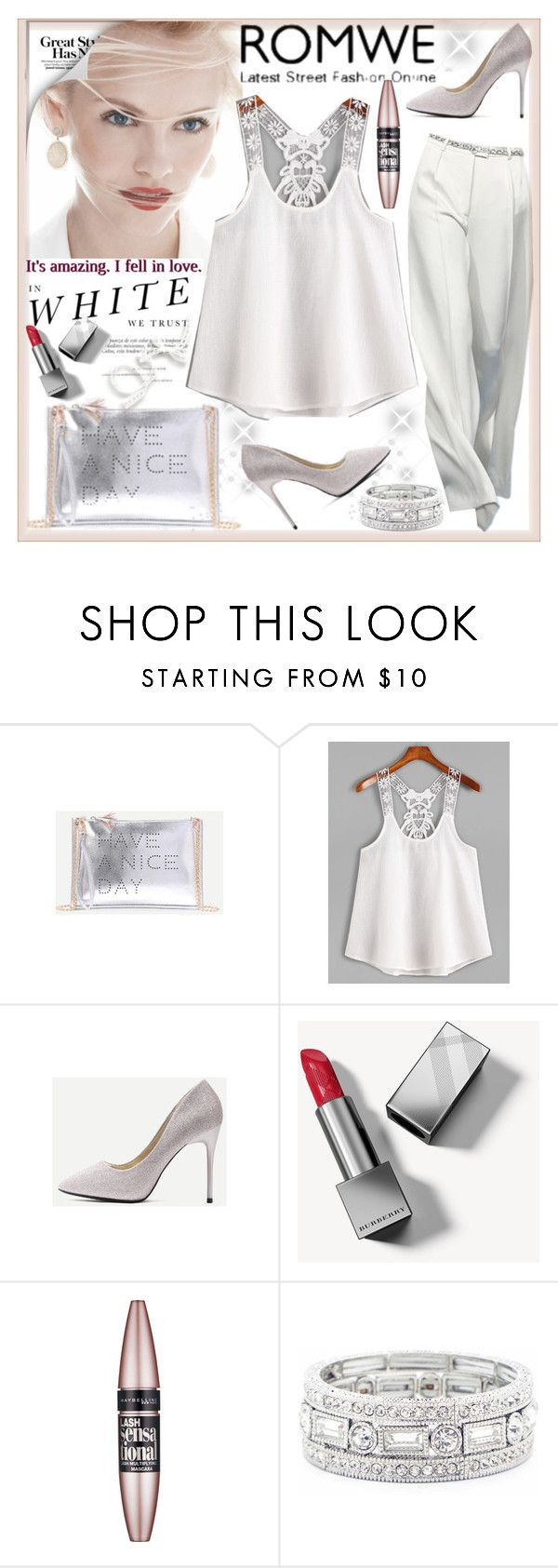 """""""White Contrast Lace Crochet Cami Top"""" by sirena39 ❤ liked on Polyvore featuring Madara, GINTA, Burberry, Maybelline and Sole Society"""